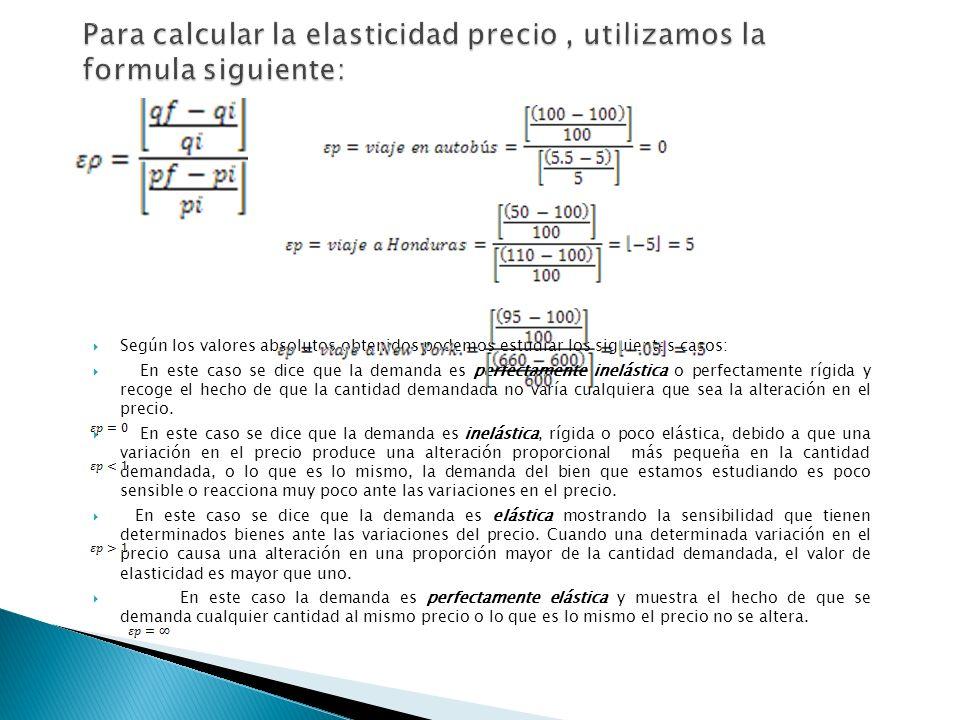 Para calcular la elasticidad precio , utilizamos la formula siguiente:
