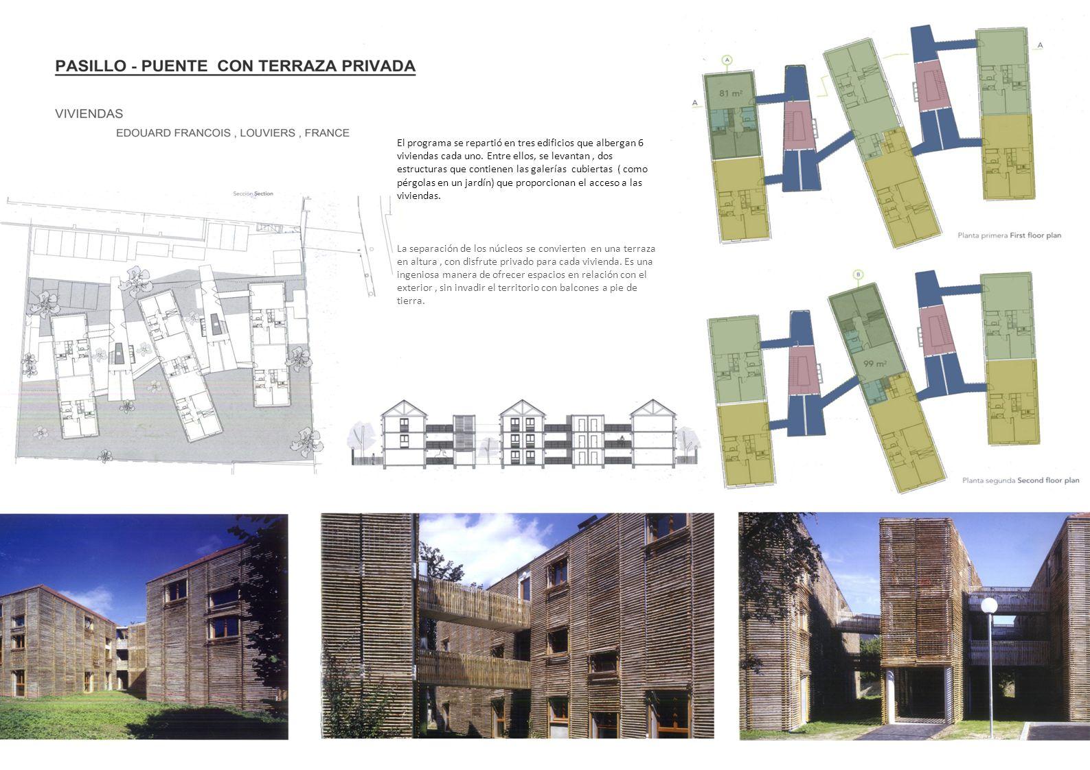 El programa se repartió en tres edificios que albergan 6 viviendas cada uno. Entre ellos, se levantan , dos estructuras que contienen las galerías cubiertas ( como pérgolas en un jardín) que proporcionan el acceso a las viviendas.