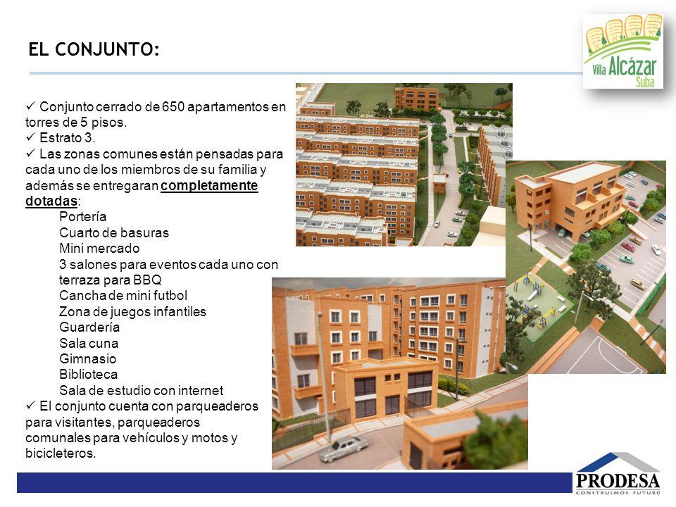 EL CONJUNTO:  Conjunto cerrado de 650 apartamentos en torres de 5 pisos.  Estrato 3.