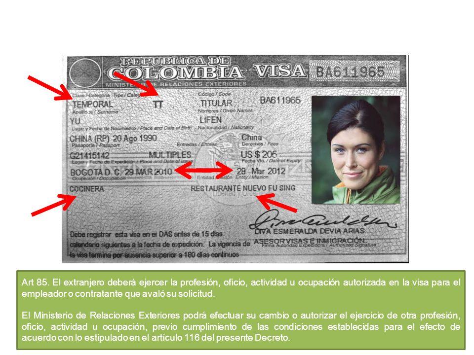 Art 85. El extranjero deberá ejercer la profesión, oficio, actividad u ocupación autorizada en la visa para el empleador o contratante que avaló su solicitud.