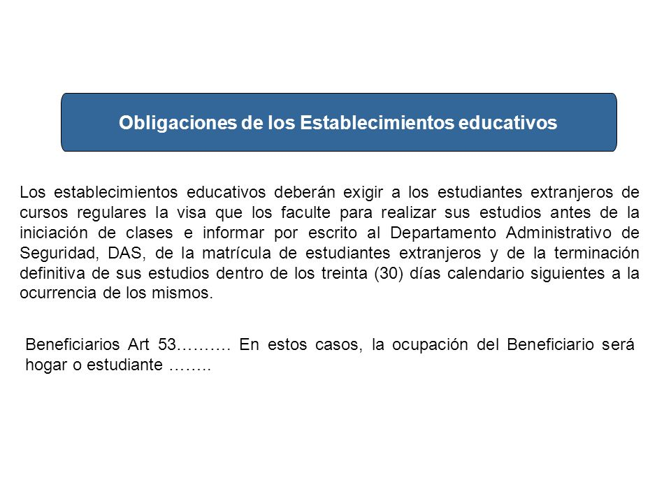 Obligaciones de los Establecimientos educativos