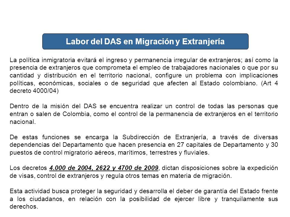 Labor del DAS en Migración y Extranjería