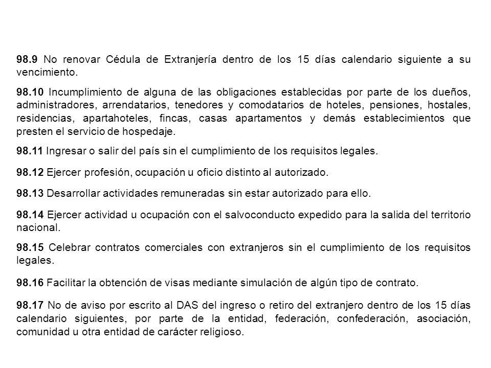 98.12 Ejercer profesión, ocupación u oficio distinto al autorizado.