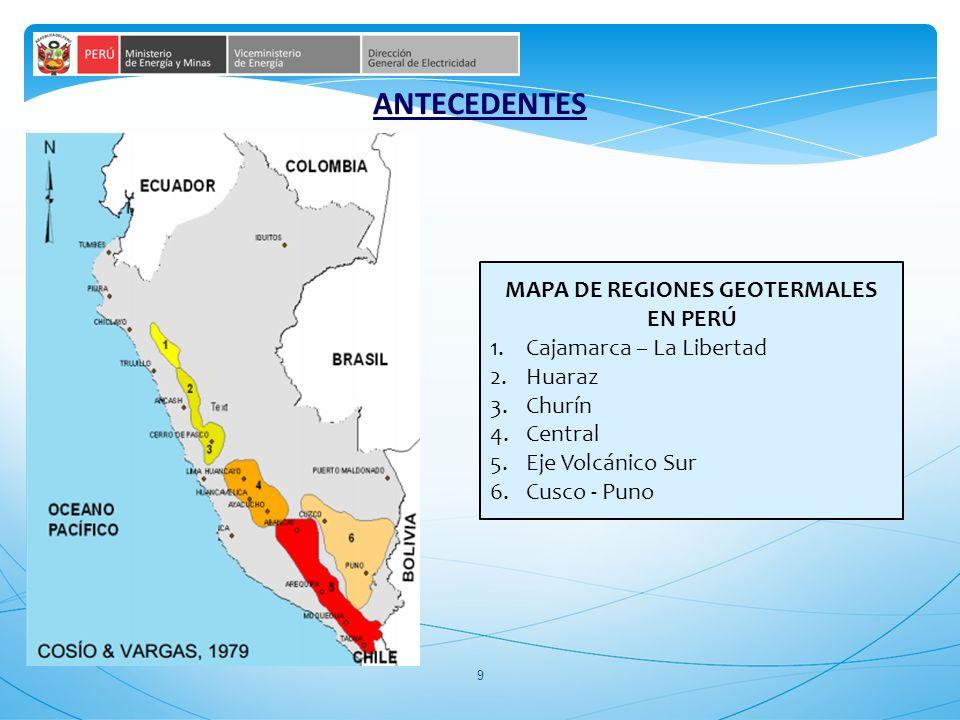 MAPA DE REGIONES GEOTERMALES EN PERÚ