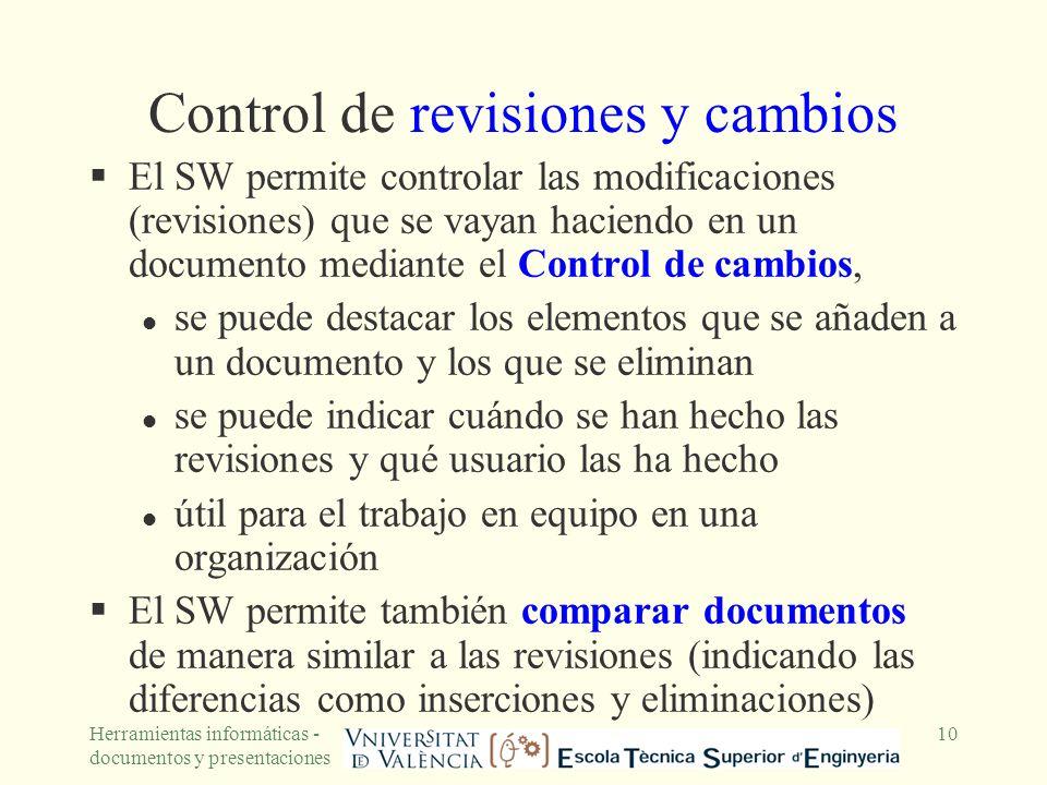 Control de revisiones y cambios