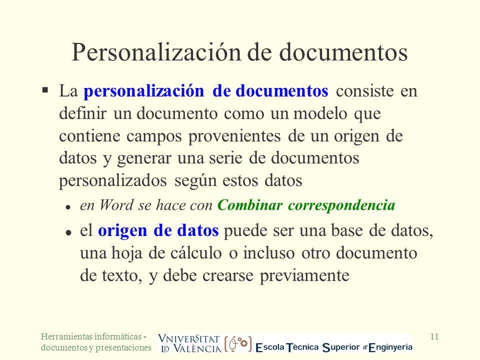 Personalización de documentos