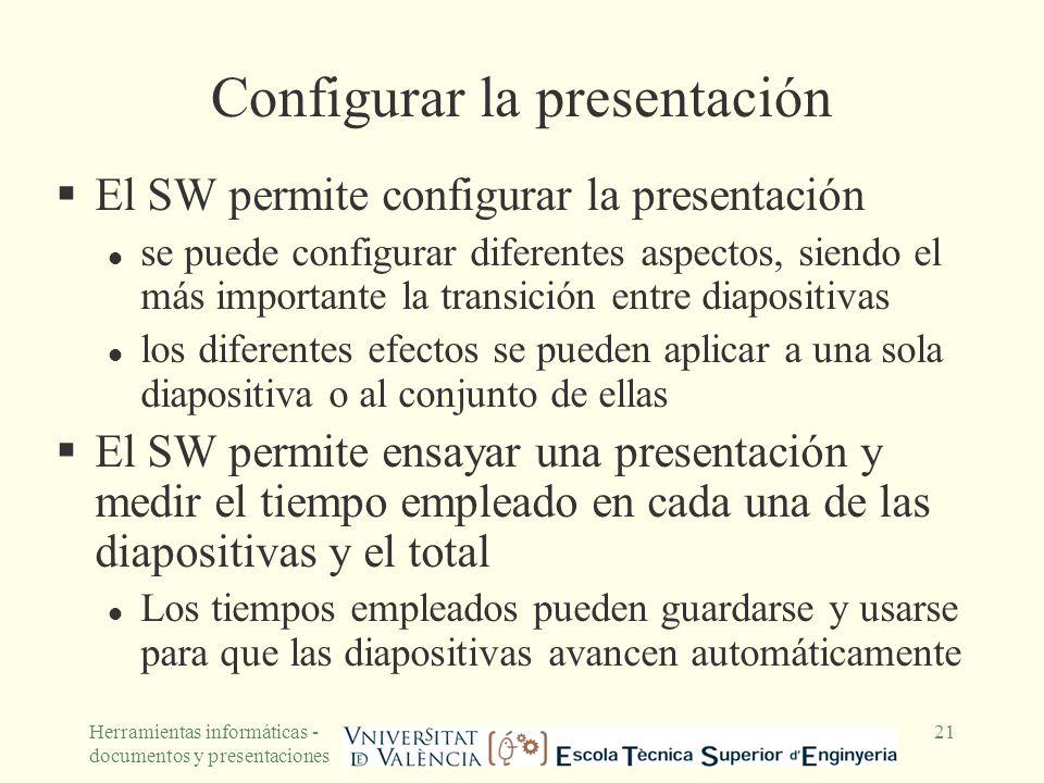 Configurar la presentación
