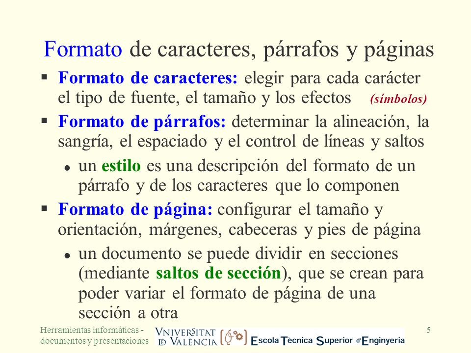 Formato de caracteres, párrafos y páginas