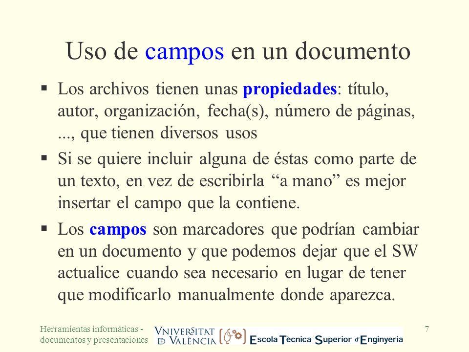 Uso de campos en un documento