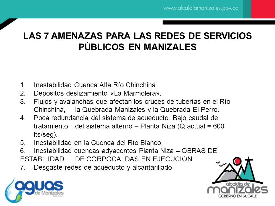 LAS 7 AMENAZAS PARA LAS REDES DE SERVICIOS PÚBLICOS EN MANIZALES