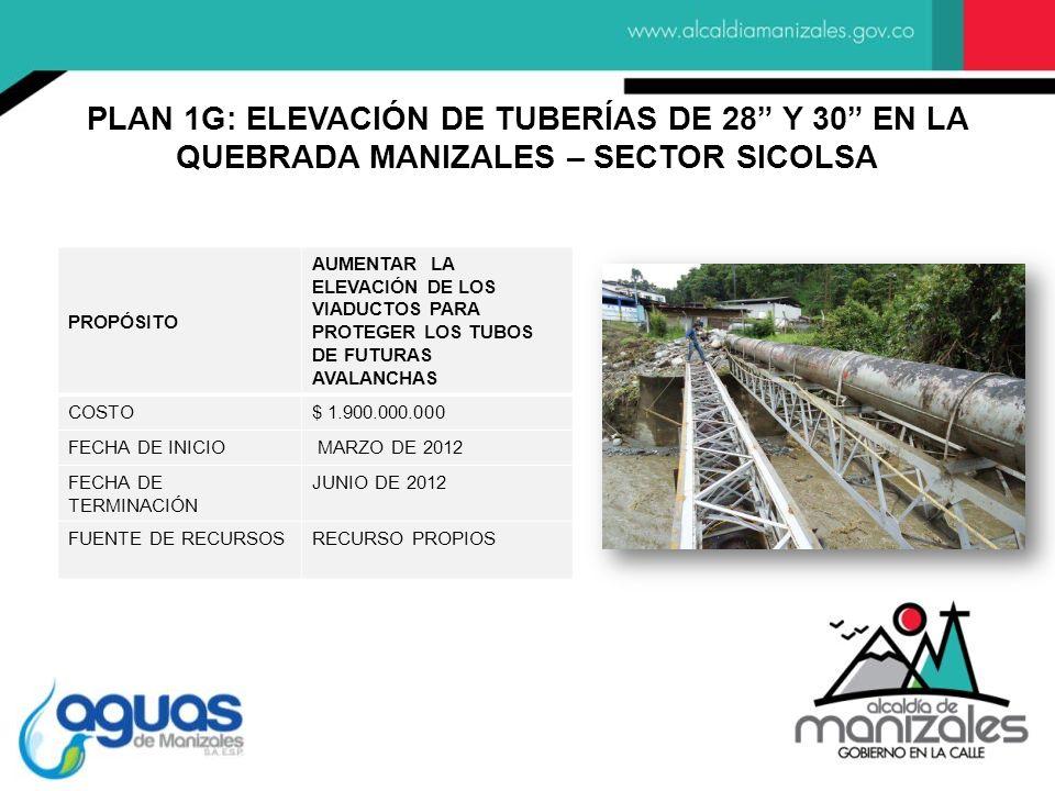PLAN 1G: ELEVACIÓN DE TUBERÍAS DE 28 Y 30 EN LA QUEBRADA MANIZALES – SECTOR SICOLSA