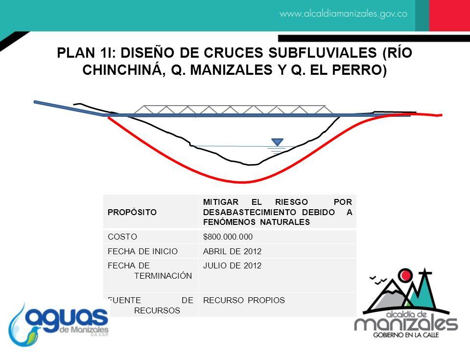PLAN 1I: DISEÑO DE CRUCES SUBFLUVIALES (RÍO CHINCHINÁ, Q. MANIZALES Y Q. EL PERRO)