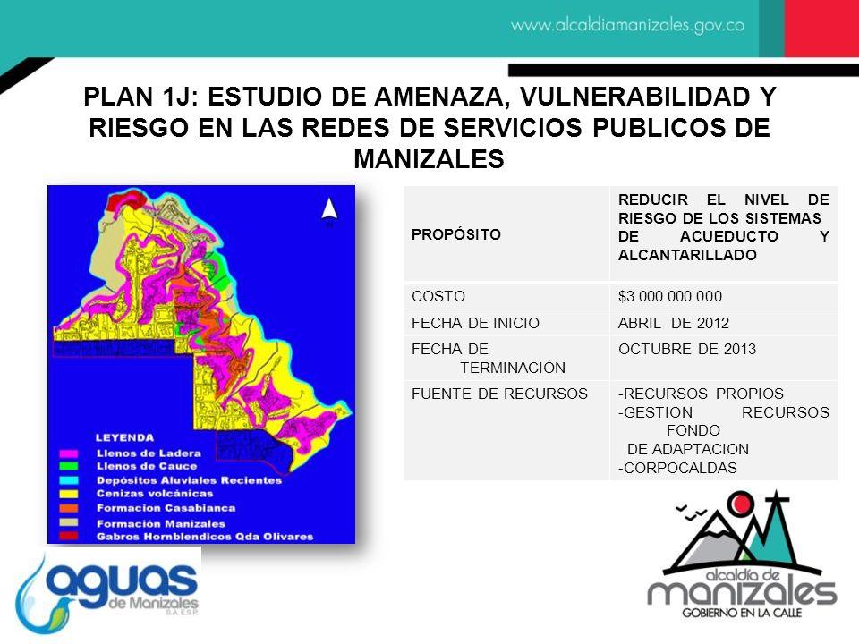 PLAN 1J: ESTUDIO DE AMENAZA, VULNERABILIDAD Y RIESGO EN LAS REDES DE SERVICIOS PUBLICOS DE MANIZALES