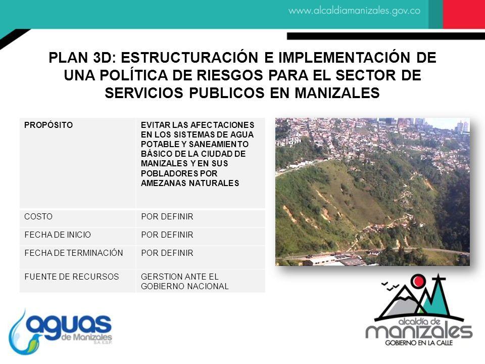 PLAN 3D: ESTRUCTURACIÓN E IMPLEMENTACIÓN DE UNA POLÍTICA DE RIESGOS PARA EL SECTOR DE SERVICIOS PUBLICOS EN MANIZALES