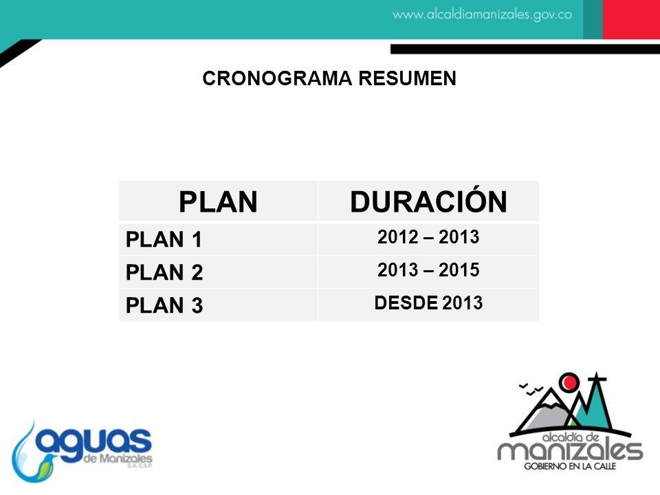 PLAN DURACIÓN PLAN 1 PLAN 2 PLAN 3 CRONOGRAMA RESUMEN 2012 – 2013