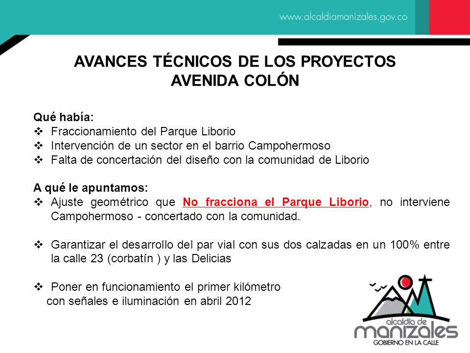 AVANCES TÉCNICOS DE LOS PROYECTOS