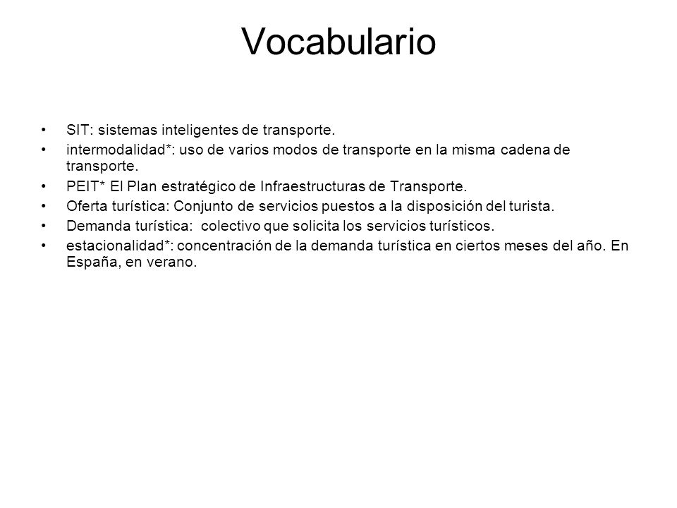Vocabulario SIT: sistemas inteligentes de transporte.