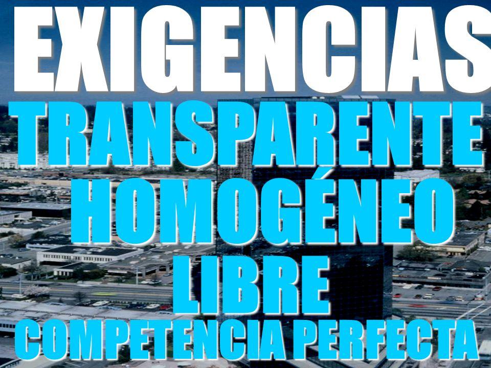 EXIGENCIAS TRANSPARENTE HOMOGÉNEO LIBRE COMPETENCIA PERFECTA