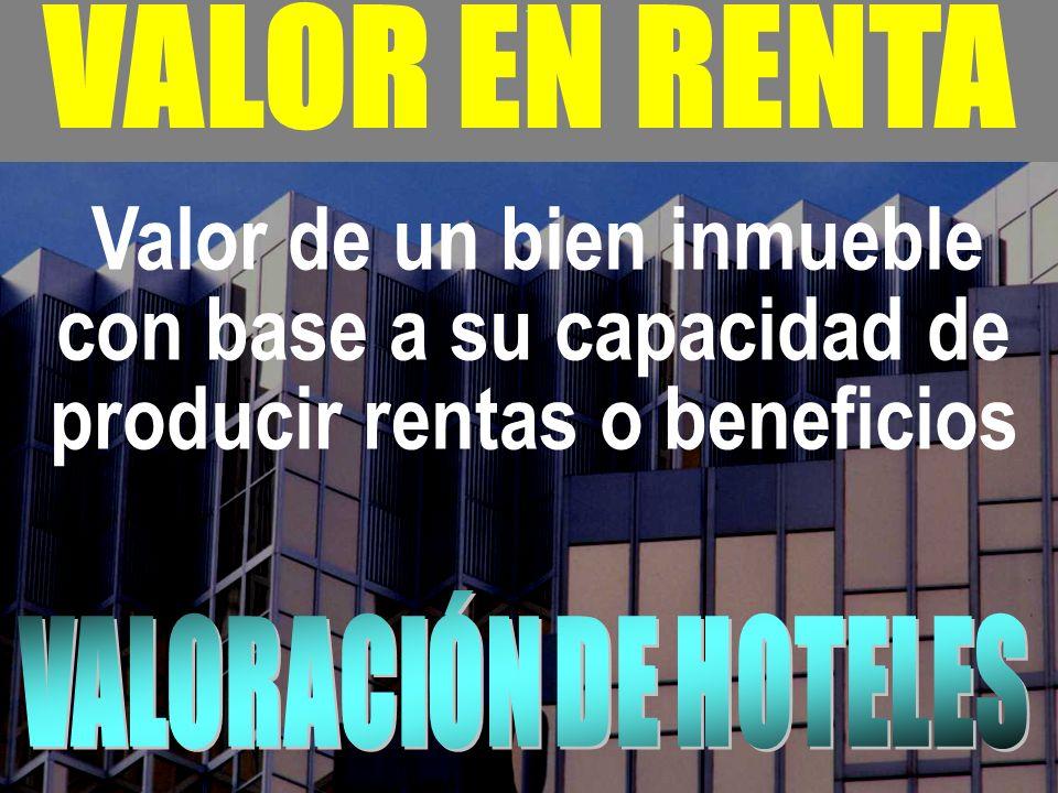 VALOR EN RENTA VALORACIÓN DE HOTELES
