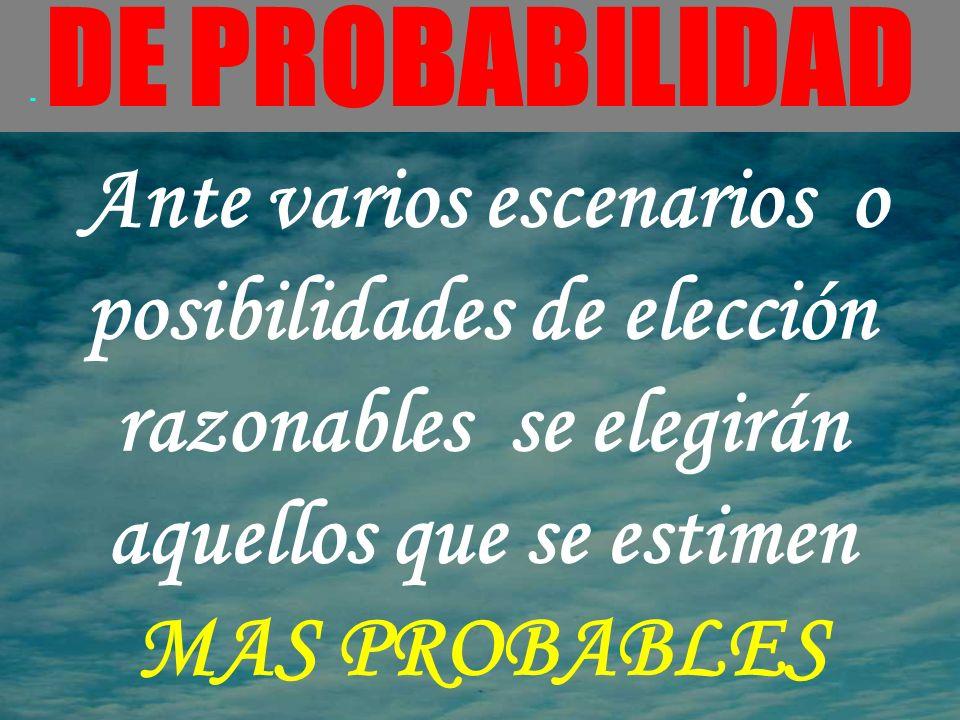 DE PROBABILIDAD Ante varios escenarios o posibilidades de elección razonables se elegirán aquellos que se estimen.
