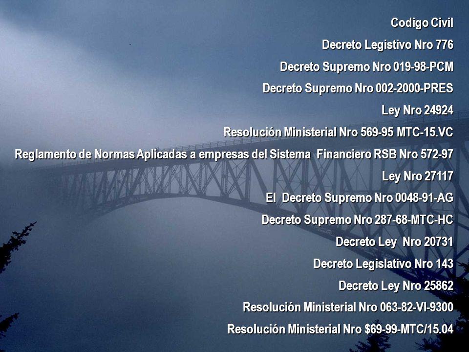 Codigo CivilDecreto Legistivo Nro 776. Decreto Supremo Nro 019-98-PCM. Decreto Supremo Nro 002-2000-PRES.