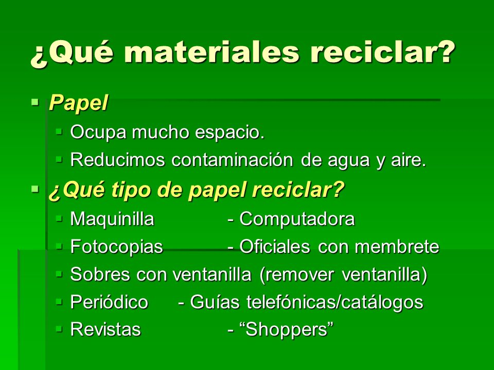 ¿Qué materiales reciclar