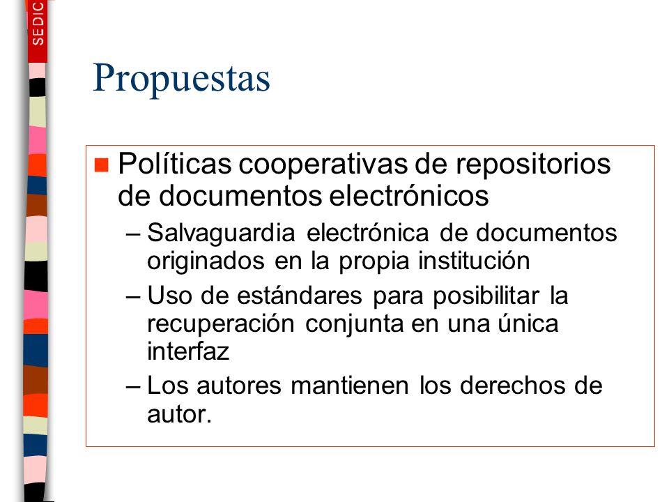 Propuestas Políticas cooperativas de repositorios de documentos electrónicos.