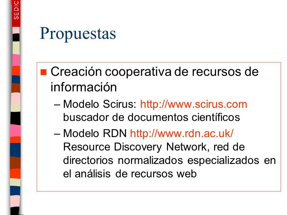 Propuestas Creación cooperativa de recursos de información