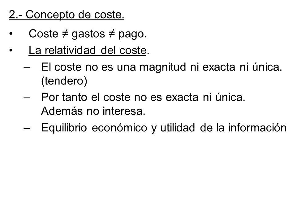 2.- Concepto de coste. Coste ≠ gastos ≠ pago. La relatividad del coste. El coste no es una magnitud ni exacta ni única. (tendero)