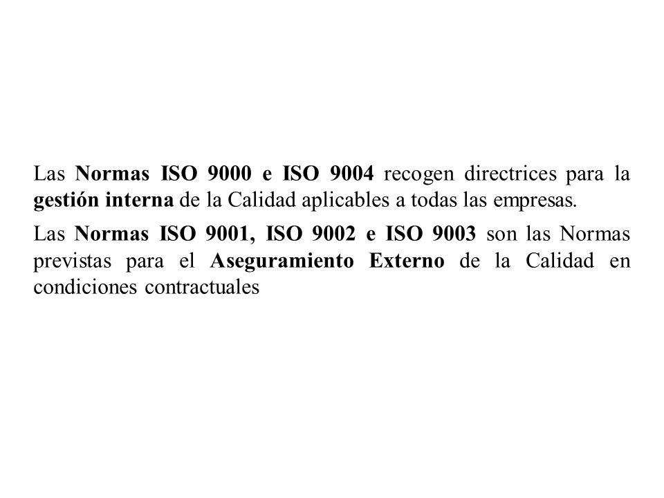 Las Normas ISO 9000 e ISO 9004 recogen directrices para la gestión interna de la Calidad aplicables a todas las empresas.