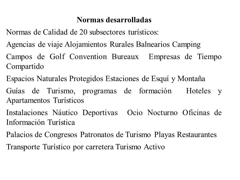 Normas desarrolladas Normas de Calidad de 20 subsectores turísticos: Agencias de viaje Alojamientos Rurales Balnearios Camping.