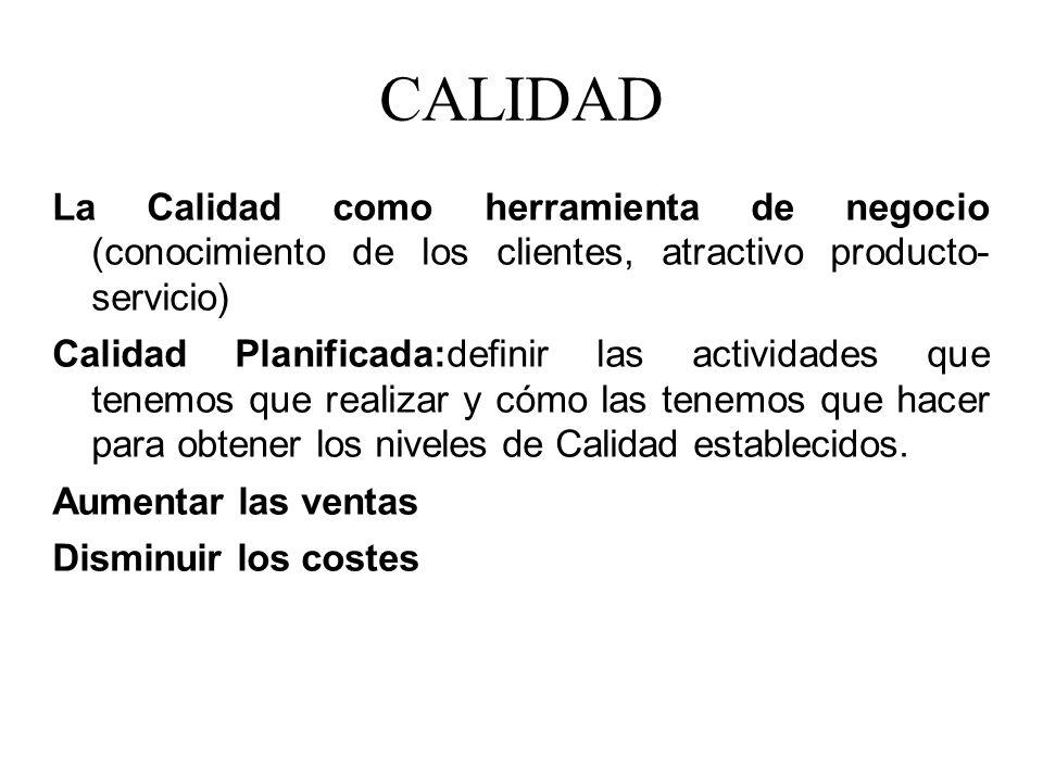 CALIDAD La Calidad como herramienta de negocio (conocimiento de los clientes, atractivo producto- servicio)