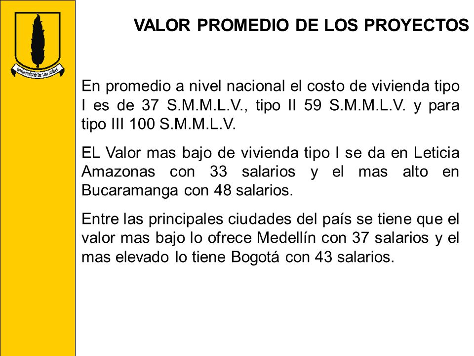 VALOR PROMEDIO DE LOS PROYECTOS