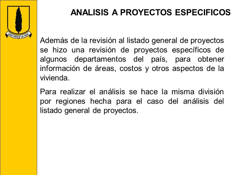 ANALISIS A PROYECTOS ESPECIFICOS