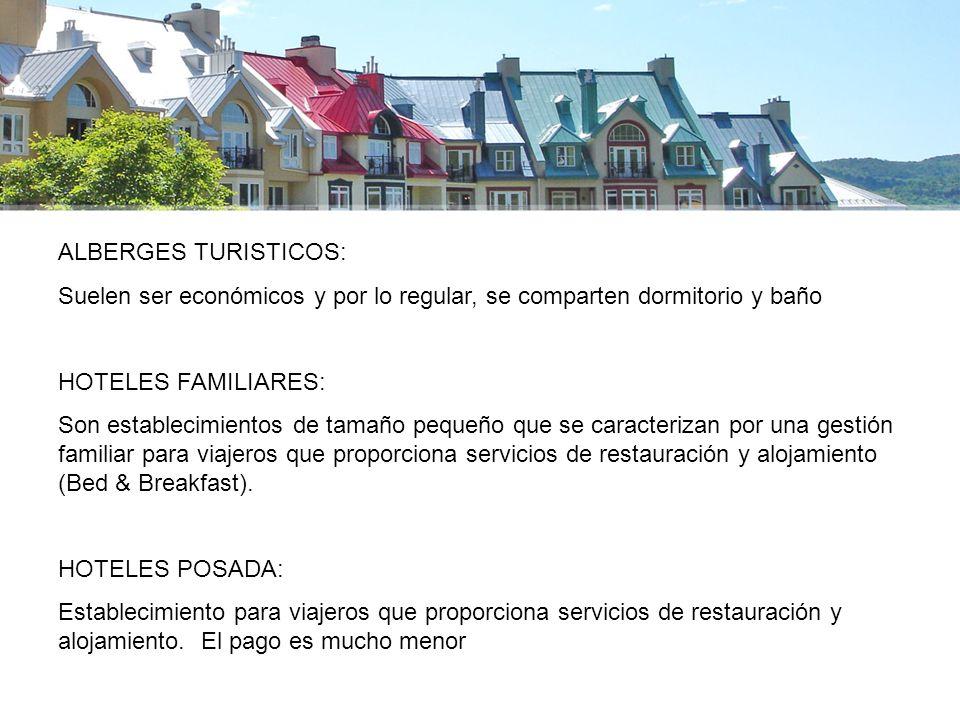 ALBERGES TURISTICOS: Suelen ser económicos y por lo regular, se comparten dormitorio y baño. HOTELES FAMILIARES: