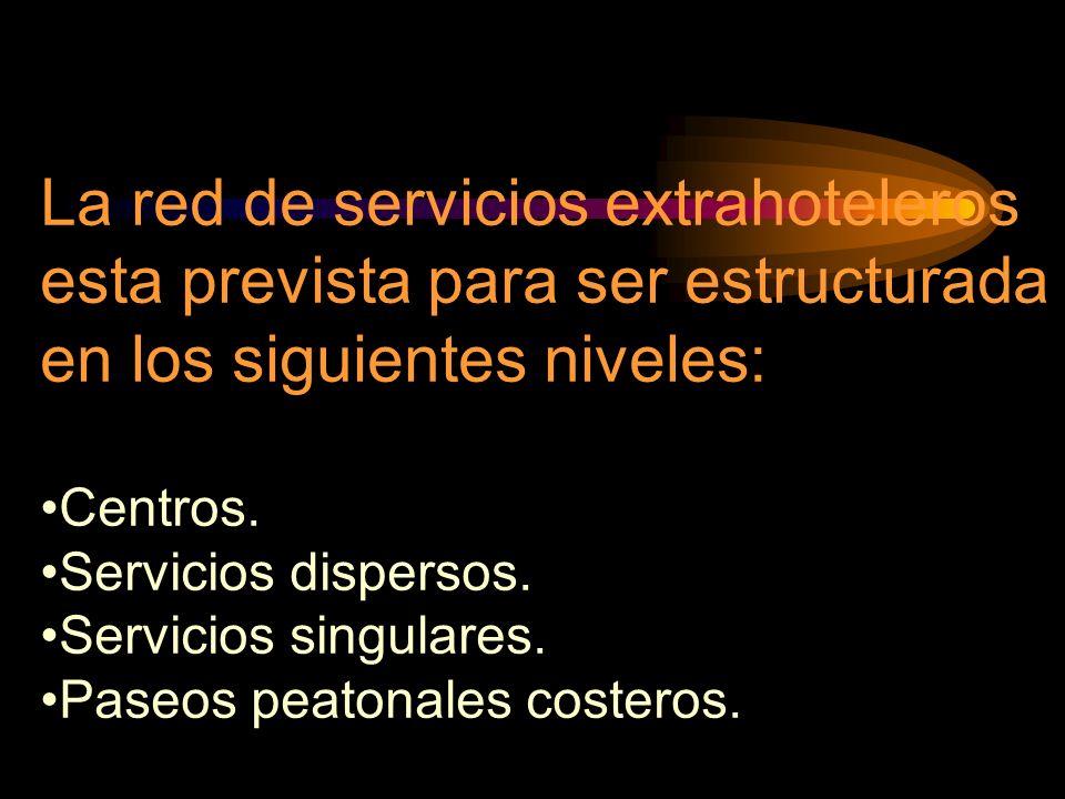 La red de servicios extrahoteleros esta prevista para ser estructurada en los siguientes niveles: