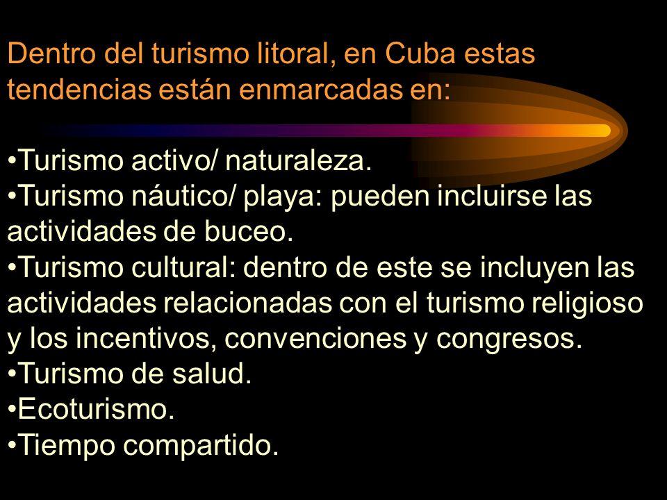 Dentro del turismo litoral, en Cuba estas tendencias están enmarcadas en: