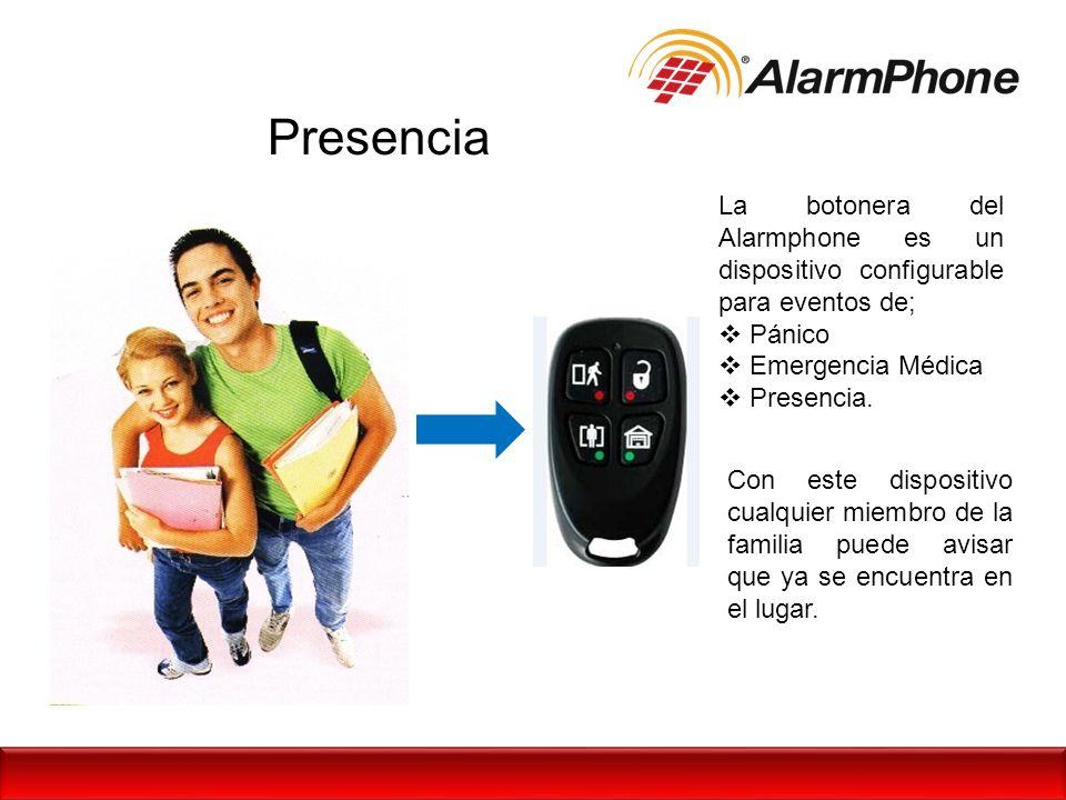 Presencia La botonera del Alarmphone es un dispositivo configurable para eventos de; Pánico. Emergencia Médica.