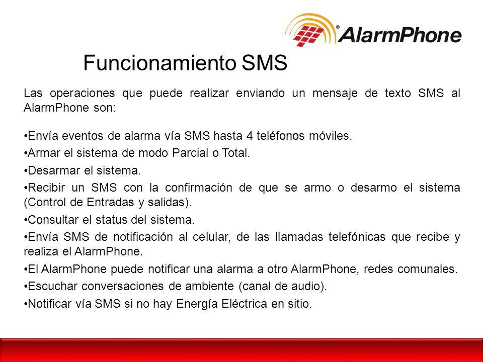 Funcionamiento SMS Las operaciones que puede realizar enviando un mensaje de texto SMS al AlarmPhone son: