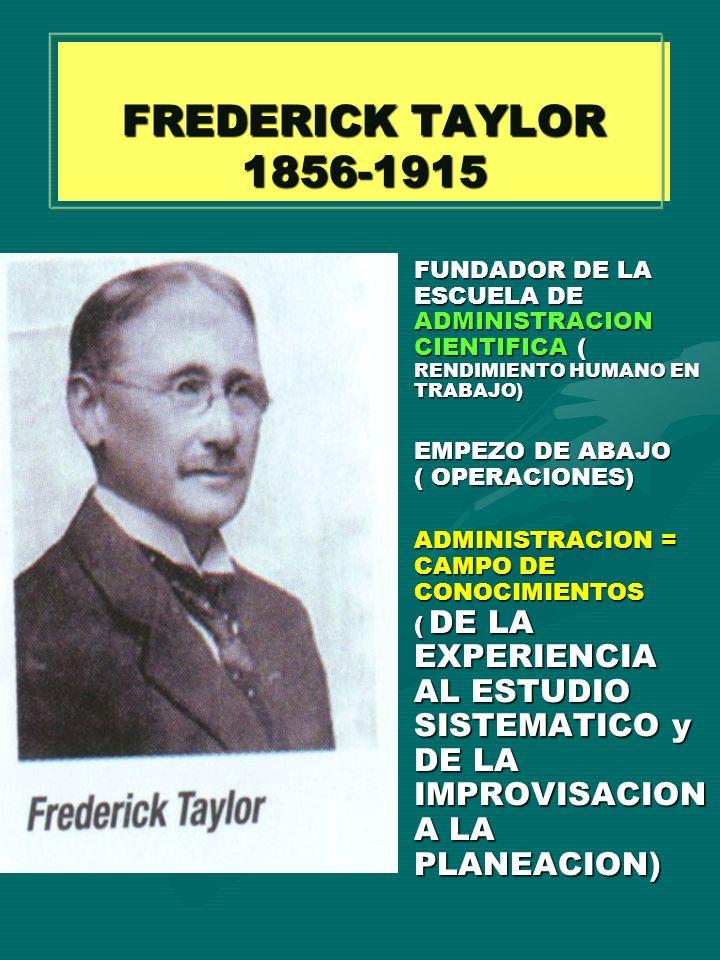 FREDERICK TAYLOR 1856-1915 FUNDADOR DE LA ESCUELA DE ADMINISTRACION CIENTIFICA ( RENDIMIENTO HUMANO EN TRABAJO)