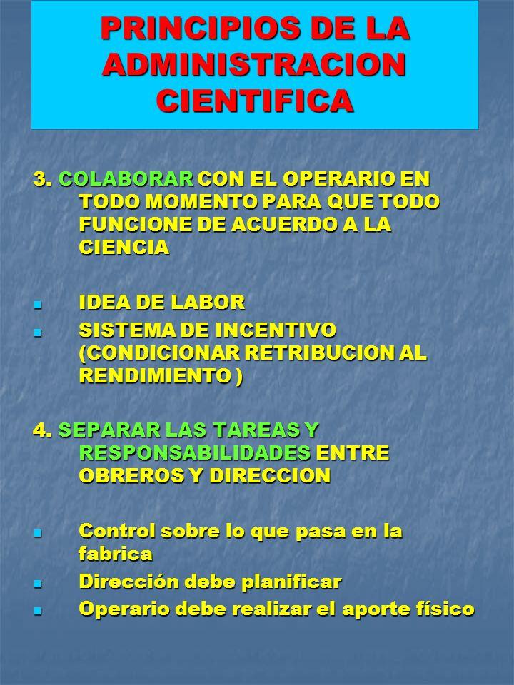 PRINCIPIOS DE LA ADMINISTRACION CIENTIFICA