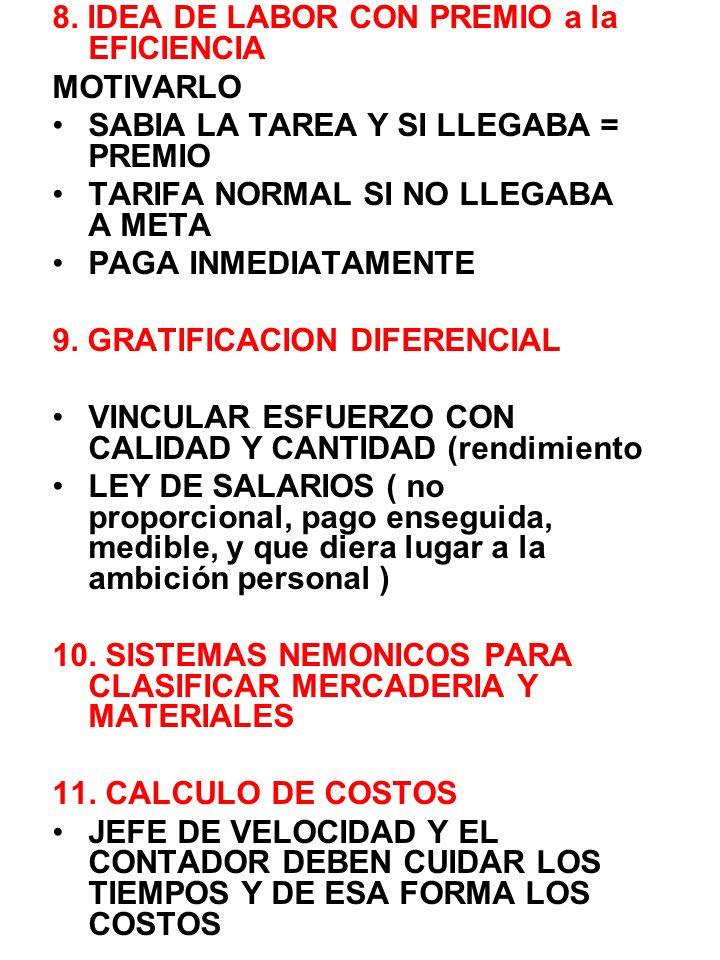 8. IDEA DE LABOR CON PREMIO a la EFICIENCIA