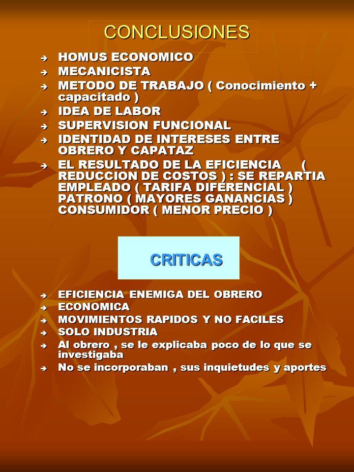 CONCLUSIONES CRITICAS HOMUS ECONOMICO MECANICISTA
