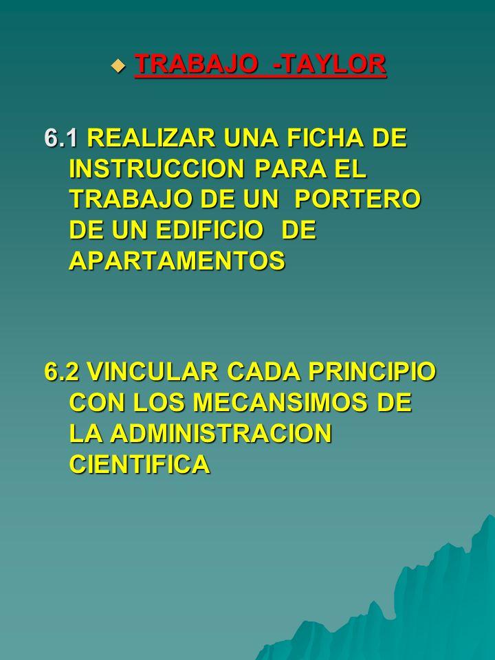 TRABAJO -TAYLOR 6.1 REALIZAR UNA FICHA DE INSTRUCCION PARA EL TRABAJO DE UN PORTERO DE UN EDIFICIO DE APARTAMENTOS.