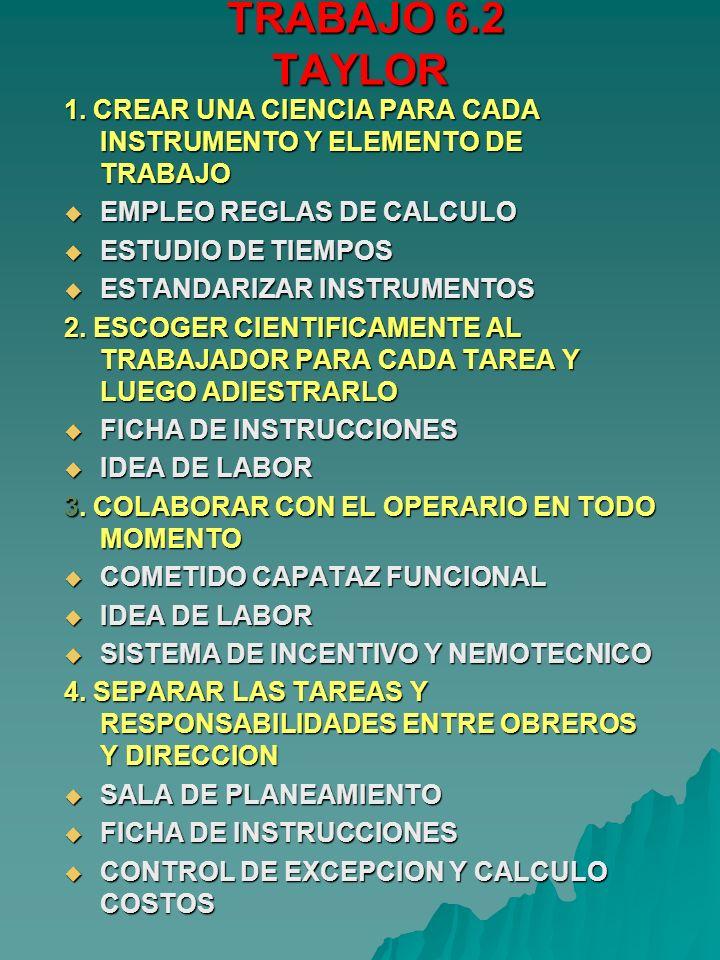 TRABAJO 6.2 TAYLOR 1. CREAR UNA CIENCIA PARA CADA INSTRUMENTO Y ELEMENTO DE TRABAJO. EMPLEO REGLAS DE CALCULO.