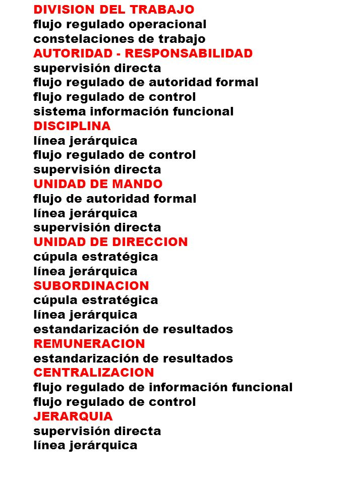 DIVISION DEL TRABAJO flujo regulado operacional. constelaciones de trabajo. AUTORIDAD - RESPONSABILIDAD.