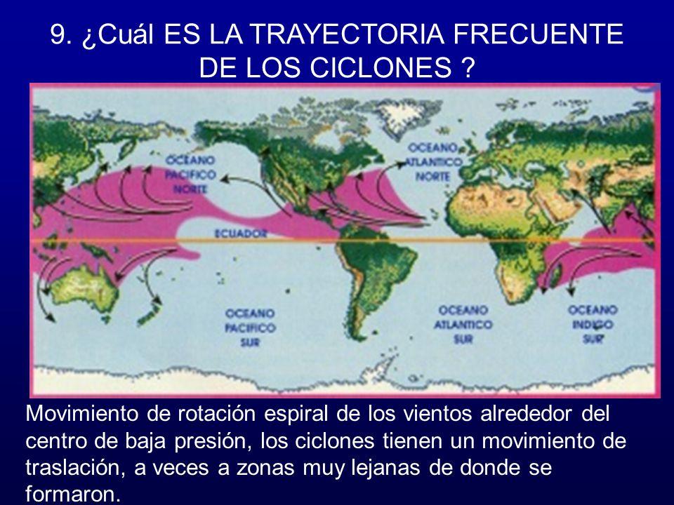 9. ¿Cuál ES LA TRAYECTORIA FRECUENTE DE LOS CICLONES