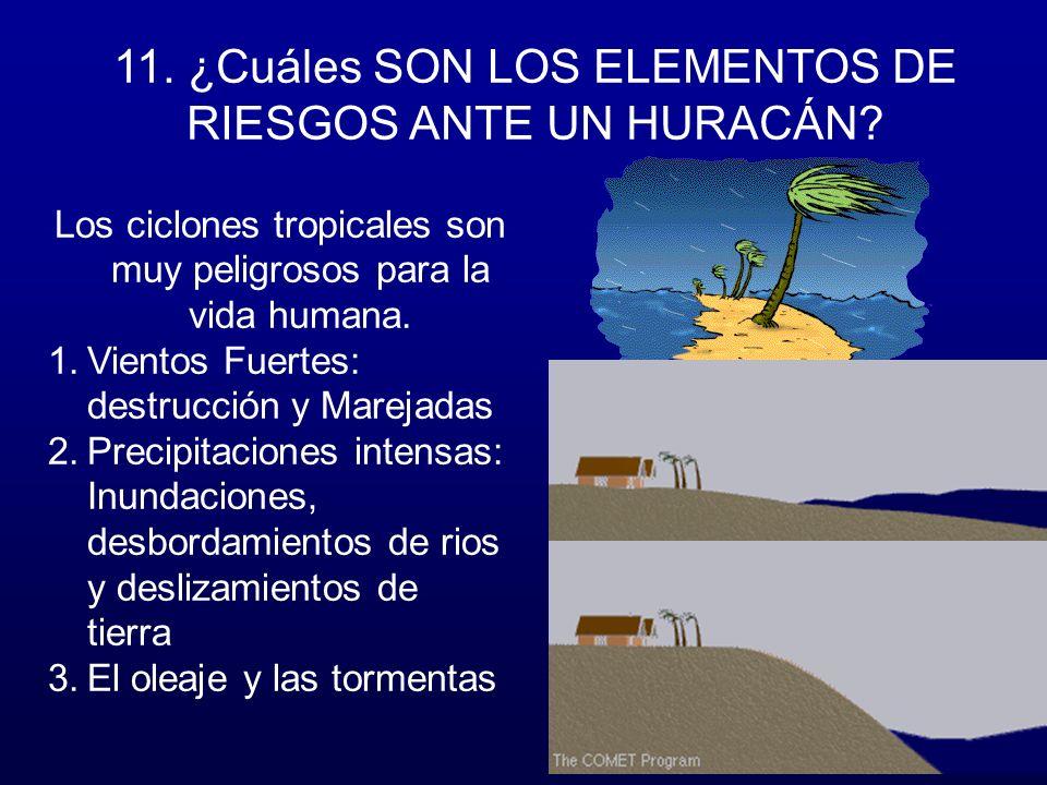 11. ¿Cuáles SON LOS ELEMENTOS DE RIESGOS ANTE UN HURACÁN