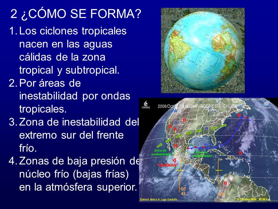 2 ¿CÓMO SE FORMA Los ciclones tropicales nacen en las aguas cálidas de la zona tropical y subtropical.