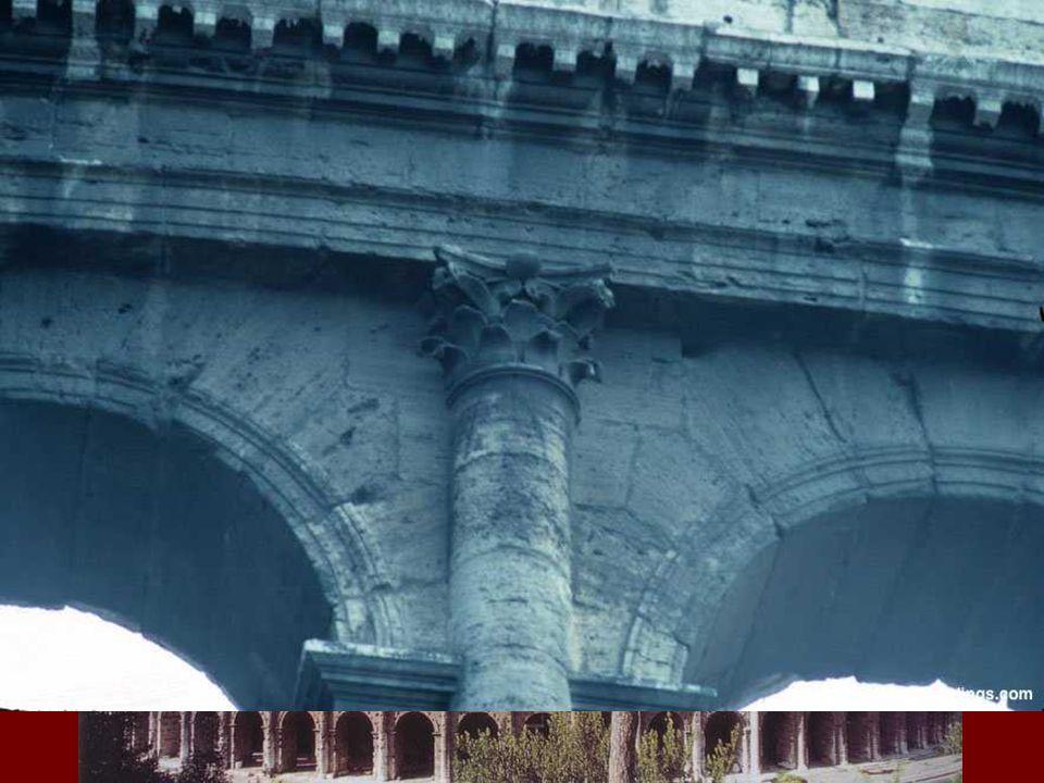 Articulación definitiva de la fachada mediante superposición de órdenes en altura, empleando por su robustez el dórico o toscano en la planta baja, seguido en los pisos superiores por el jónico, el corintio y el compuesto